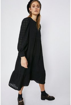 Black Textured Check Midi Dress