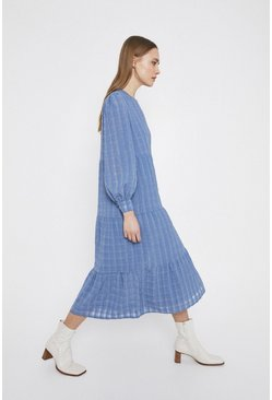 Blue Textured Check Midi Dress