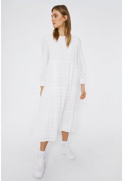 White Textured Check Midi Dress
