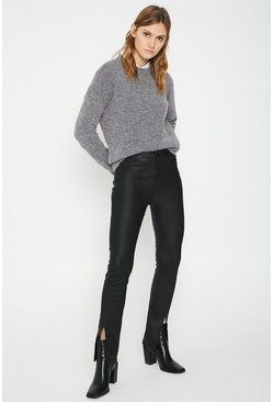 Black Coated Split Front Skinny Jeans