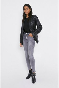 Grey Button Front Highwaist Skinny Jeans