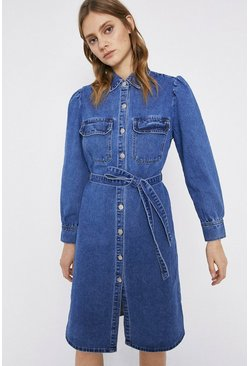 Mid wash Denim Tie Waist Midi Shirt Dress