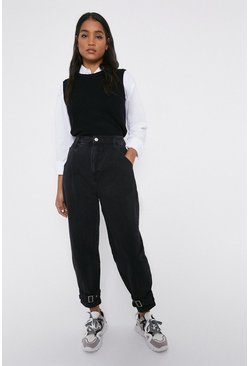 Black Balloon Fit Buckle Ankle Tie Jeans