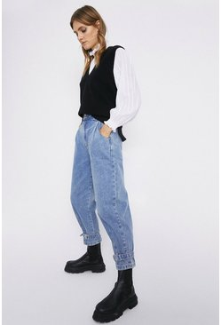 Light wash Balloon Fit Buckle Ankle Tie Jeans