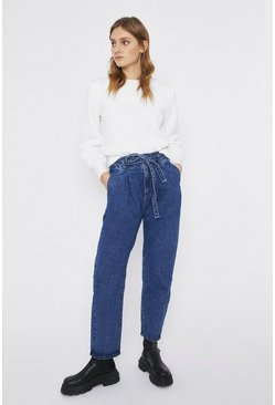 Mid wash Tie Waist Mom Fit Jeans