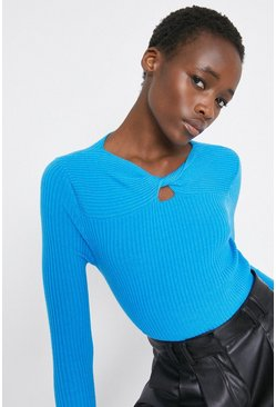 Blue Twist Neck Detail Jumper