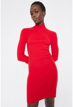 Red Ribbed Crossover Neck Dress