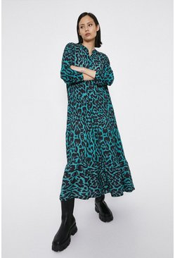 Green Animal Print Midaxi Dress