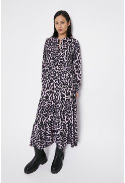 Pink Animal Print Midaxi Dress