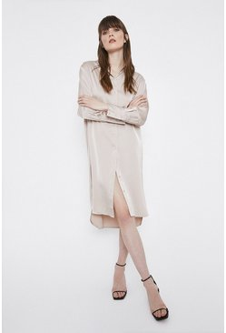 Beige Satin Shirt Dress