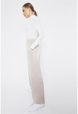 Beige Satin Wide Leg Trouser