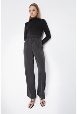 Black Satin Wide Leg Trouser
