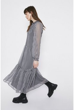 Blackwhite Gingham Tiered Midi Dress