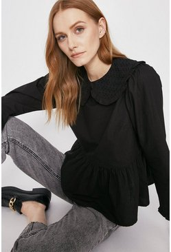 Black Broderie Collar Peplum Hem Top