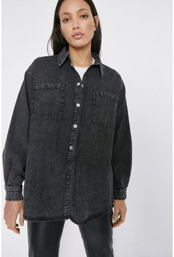 Black Relaxed Washed Denim Shirt