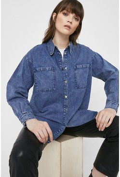 Blue Relaxed Washed Denim Shirt