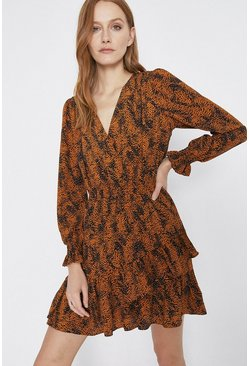 Rust Patched Spot Print Frill Hem Mini Dress
