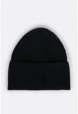 Black Recycled Polyester Beanie Hat