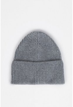 Grey Recycled Polyester Beanie Hat