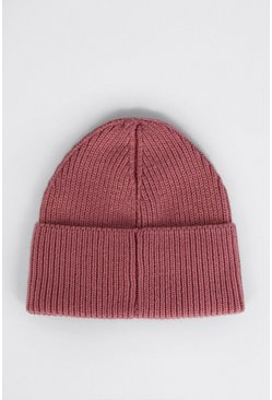 Pink Recycled Polyester Beanie Hat