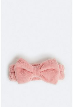 Pink Towelling Bow Head Band