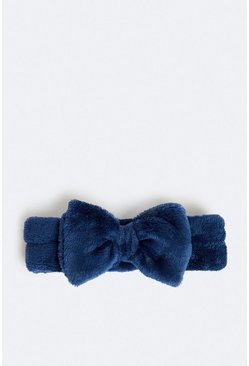 Navy Towelling Bow Head Band