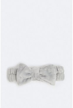 Grey Towelling Bow Head Band