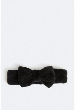 Black Towelling Bow Head Band