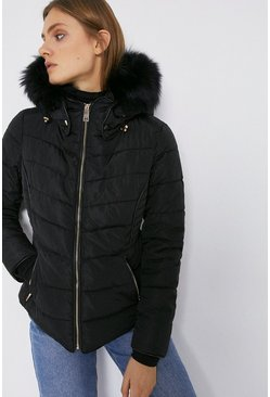Black Short Padded Fur Trim Jacket