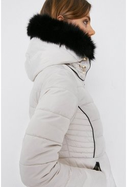 Ivory Short Padded Fur Trim Jacket