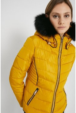 Ochre Short Padded Fur Trim Jacket