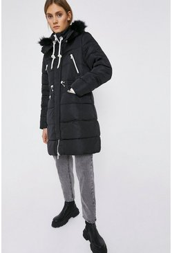 Black Fur Hood Zip Detail Padded Coat