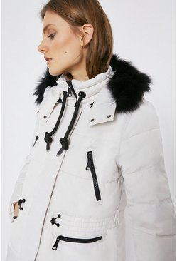 Cream Fur Hood Zip Detail Padded Coat