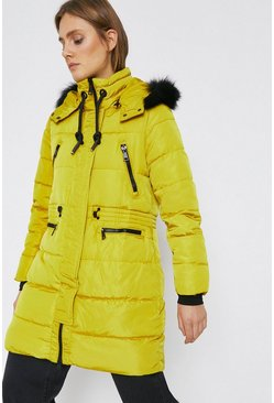 Mustard Fur Hood Zip Detail Padded Coat