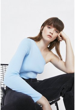 Blue One Shoulder Long Sleeve Jumper