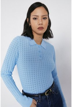 Blue Scallop Stitch Long Sleeve Polo Jumper
