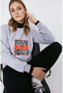 Grey Paris Slogan Sweat