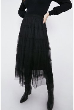 Black Tiered Mesh Midi Skirt