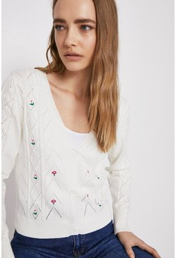 Ivory Embroidered Stitch Detail Cardigan