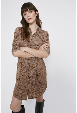 Tan Non Print Tie Waist Shirt Dress