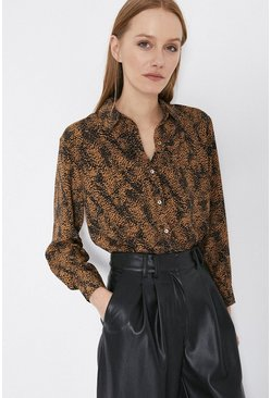 Rust Patched Spot Print Shirt