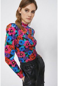 Black Printed Velvet Funnel Neck Puff Sleeve Top