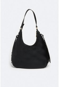 Black Slouchy Pocket Detail Bag