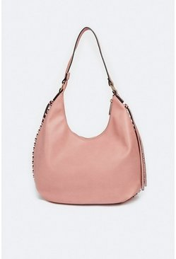 Pink Slouchy Pocket Detail Bag