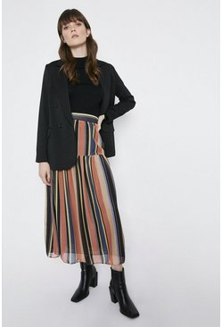 Orange Stripe Midaxi Skirt