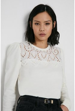 Ivory Broderie Yoke Sweat