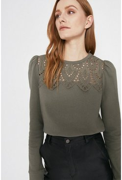 Sage Broderie Yoke Sweat
