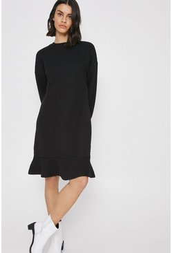 Black Quilted Check Flippy Hem Dress