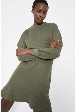 Khaki Quilted Check Flippy Hem Dress