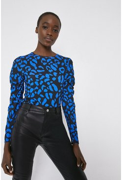 Blackwhite Printed Ruched Sleeve Top